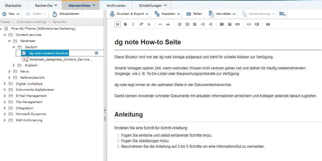 dataglobal CS Webclient Notizen mit dg note