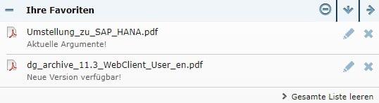 dataglobal CS Webclient Favoriten